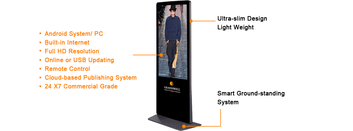 informational kiosk, 1080p 70inch LCD monitor digital signage, android and PC operating system, Wi-Fi internet connected, floor standing.