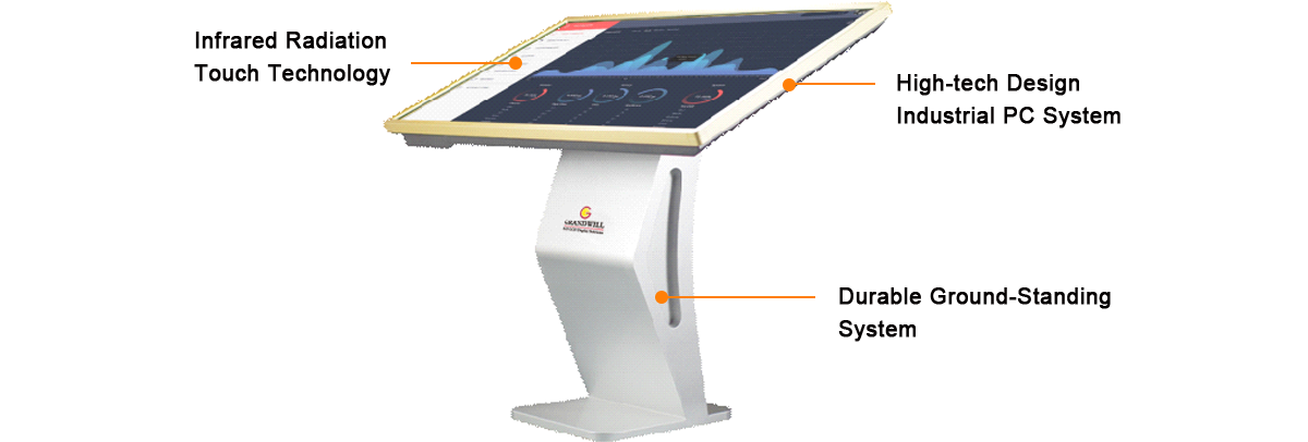 informational multi-touch screen digital signage kiosk, floor standing.