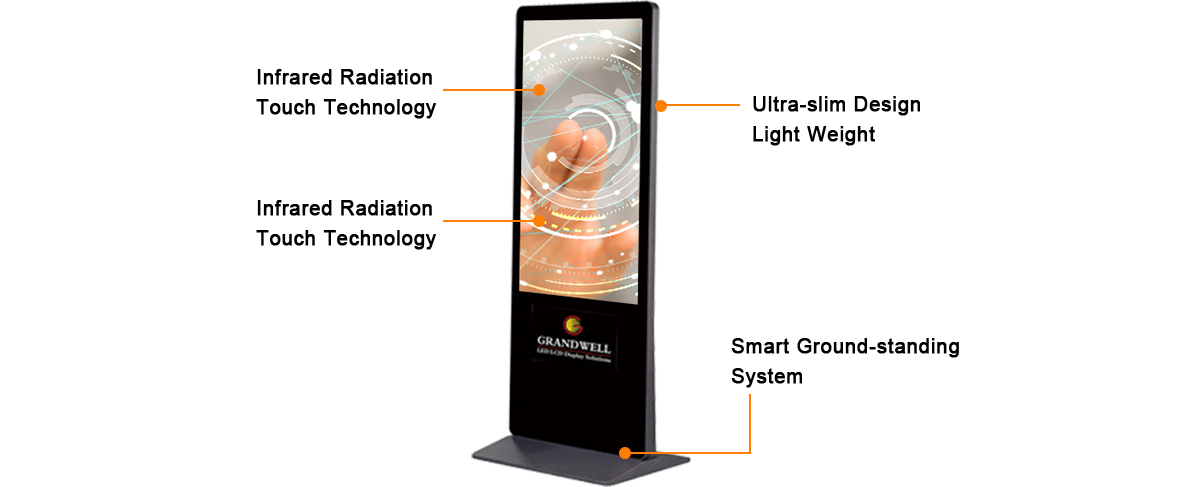 informational IR multi-touch screen digital signage kiosk, floor standing, 49inch.