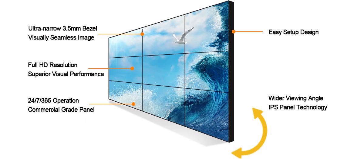 LCD video wall displays screen, free standing display walls, multi-screen display wall, conference room monitor on wall, video wall system, monitor wall.