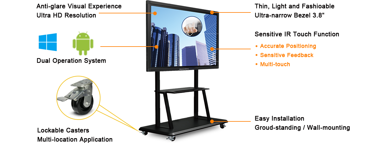 interactive board, multi-touch-screen panel, ultra high resolution 86inch LCD monitor, meeting room display system.