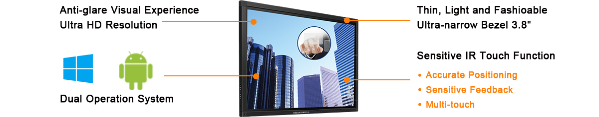 interactive board, multi-touch-screen panel, ultra high resolution 70inch LCD monitor, meeting room display system.